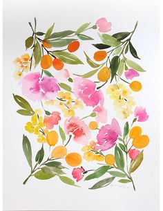 12 x 16 Kumquats & Peonies Watercolor Painting by YaoChengDesign, $180.00