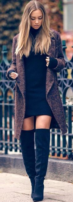 #fall #outfits  women's gray trench coat and black mini dress