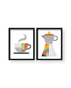 Modern Coffee Retro Color Kitchen Poster Set, Yellow Gray Kitchen Decor, Geometric Art, Minimalist P Minimalist Poster, Minimalist Decor, Minimalist Kitchen, Kitchen Wall Art, Kitchen Decor, Kitchen Drawing, Kitchen Modern, Ikea Kitchen, Kitchen Ideas