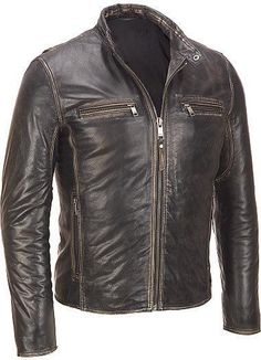 Men's leather jacket, Men brown distressed leather jacket