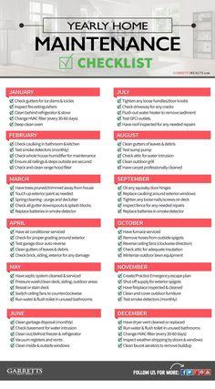 New Home Checklist, Home Maintenance Checklist, House Cleaning Checklist, Household Cleaning Tips, Cleaning Hacks, Household Checklist, Cleaning Check Lists, Monthly Cleaning Schedule, Hvac Maintenance