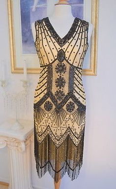 This is a FABULOUS style GREAT GATSBY beaded flapper dress. Dress is fully beaded with light silver and iridescent beadwork that gives off rainbow colors in certain lights! 1920s Fashion Dresses, 1920s Fashion Women, 1920s Outfits, Retro Fashion, Vintage Dresses, Vintage Outfits, Vintage Fashion, Vintage Clothing, Rain Fashion