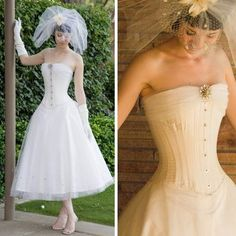 Corset Wedding Dress Tea-Length Designs Again, in red, a bright red, with no veil, and the underskirt being copper or a sunrise color.