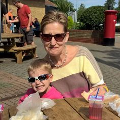 """Stopped for a picnic on way to our last Summer jaunt.  JB says """"Mummy take a picture of me and Nanna""""  #bloggerschild"""