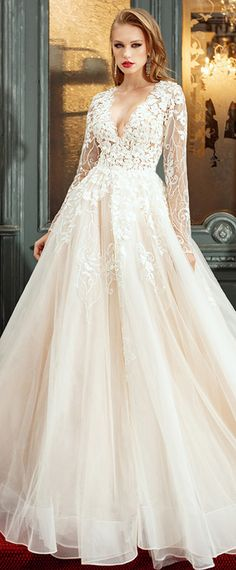 Lavish Tulle & Satin V-Neck A-Line Wedding Dresses With Beaded Embroidery & Lace Appliques