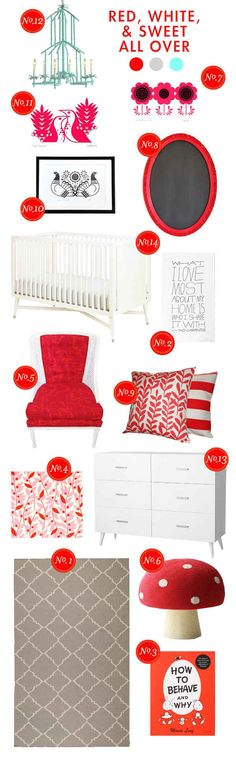 red-white-&-sweet all over nursery inspiration board