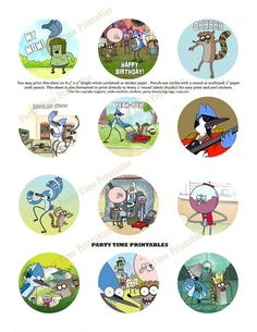 Regular Show Printable Cupcake Toppers ,or use as Table Confetti or Stickers - 12 different designs