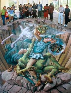 Perseus... sidewalk art... and me with my little chalk pieces on my front walk. Not the same at all.  Carol