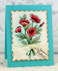 JustRite Poppies Labels 29 stamp set, colored with Copic markers by Sharon Harnist.