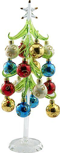 LS Arts XM682 Christmas Glass Tree with 12 Large Ornament On Crystal Base Gift Box Green 12 *** This is an Amazon Affiliate link. Continue to the product at the image link.