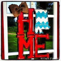 "State ""Home""  sign- Any state any color and pattern Wood door hanger"