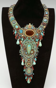 another great dramatic piece! Queen Lydia bead embroidery necklace by Adele Denton