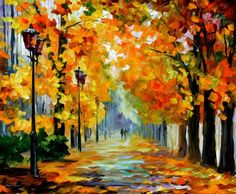 SUNNY OCTOBER - PALETTE KNIFE Oil Painting On Canvas By Leonid Afremov
