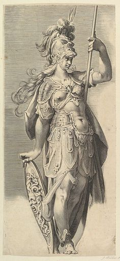 Engraving of Minerva - by Bartholomeus Spranger, 1611, 50-23 cm, at the Metropolitan Museum