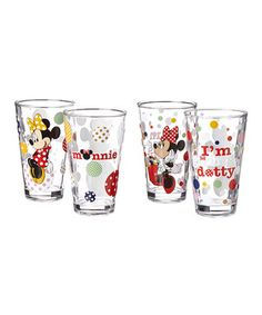 Minnie Mouse Glass - Set of Four