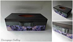 Chustecznik fioletowe kwiaty - Więcej na mojej stronie na fb - Decoupage Gallery