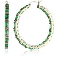 Emerald Shape Hoop Earrings