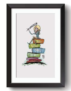 Description: The Scribe J.K. Rowlings and her Magical Books - Harry Potter Fan Art An 8.5 in by 11 Giclee print of a digital illustration completed by Billi French This art piece was hand drawn using a Pentel Pocket Brush with color added using copic markers  Printing: Final print is printed on art quality Hammermill Digital cover 80 lb Paper using an Epson SureColor P400 Photo Printer  Shipping Details: Prints are shipped in a flat rigid cardboard mailer sandwiched between two flat…