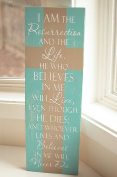 Bible Verse Sign Easter Sign Painted Wood Sign Custom with the colors you choose. $35.00, via Etsy.