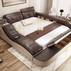 Online Shop real genuine leather bed with massage /double beds frame king/queen size bedroom furniture camas modernas muebles de dormitorio