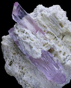 Gemmy double terminated crystals of Kunzite on Albite matrix. From Pech, Chapar Dara District, Nooristan Province, Afghanistan