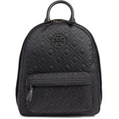 Women's Tory Burch 'Ella' Quilted Nylon Backpack (110 BHD) ❤ liked on Polyvore featuring bags, backpacks, black, nylon bag, tory burch backpack, tory burch, rucksack bags and nylon backpack