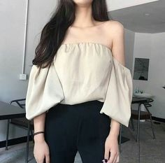 off the shoulder top black trousers spring casual outfits clothes korean fashion school street everyday comfy aesthetic soft minimalistic kawaii cute g e o r g i a n a : c l o t h e s Korean Girl Fashion, Korean Fashion Trends, Korean Street Fashion, Ulzzang Fashion, Korea Fashion, Asian Fashion, Look Fashion, Teen Fashion, Fashion Outfits