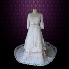 Modest Lace Wedding Dress with Round Jewel Neck Vintage by ieie, $439.95