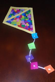 Sun catcher kite with felt and ribbon tail, using contact paper and tissue paper.