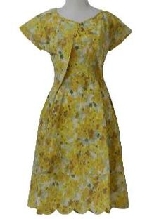 1950's Womens Sun Dress  Late 50s -Home Sewn- Womens 2-piece yellows, white, celedon and grass greens, floral print, cotton broadcloth, sleeveless sun dress with calf-length flared skirt with soft pleats, small self bow at center waist, bodice seaming interest