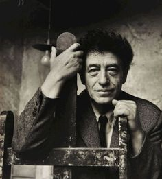 "Alberto Giacometti , 1956-1958-by Douglas Glass. ""All the sculptures of today, like those of the past, will end one day in pieces... So it is important to fashion ones work carefully in its smallest recess and charge every particle of matter with life."""