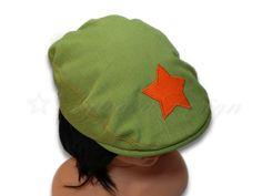 Schiebermütze Jeans grün mit Stern orange von Sylvara Design auf DaWanda.com