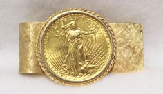 1914 $20 Saint-Gaudens Gold Double Eagle Coin Solid 14k Gold Hinged Money Clip  #goldcoin