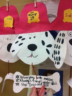 Kids Safety Buzz Around in Second Grade: Fire Safety Dog Craftivity! Kindergarten Crafts, Daycare Crafts, Classroom Crafts, Preschool Activities, Classroom Ideas, Kids Crafts, Fire Safety Crafts, Fire Safety Week, Preschool Fire Safety