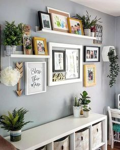 This display shelf is a perfect way to show paintings, photos and other favourite items. Use several and create a whole wall with art and memories. Picture Wall Living Room, Living Room Pictures, Room Wall Decor, Bedroom Decor, Office Wall Decor, Wall Decor With Pictures, Living Room Wall Shelves, Shelf Ideas For Living Room, Ikea Shelves Bedroom