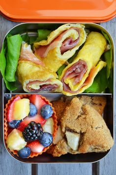 Back-to-school = back-to-packed-lunches! Here's another great idea from Nom Nom Paleo: Prosciutto & Egg Roll-Ups, Mini Cinnamon Apple Scone, and Mixed Fruit Salad Click through above for the recipe, and be sure to pre-order your copy of Nom Nom. Paleo Lunch Box, Lunch Box Bento, Paleo Dinner, Whole Food Recipes, Cooking Recipes, Healthy Recipes, Paleo Food, Healthy Lunches, Eating Paleo