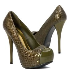 Lady Party Olive Green High Heel Faux Snakeskin Platform Stilettos Pump US 7 #Qupid #PumpsClassics