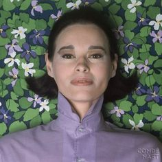 Classic Avedon portrait of Gloria Vanderbilt. At the GVCP, guests post with color-coordinated papers to highlight their charms.