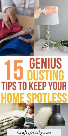 Use these simple dusting hacks to clean home space and have a decluttered house. These lazy cleaning hacks are the best for people who love cleanliness. Diy Home Cleaning, Household Cleaning Tips, House Cleaning Tips, Diy Cleaning Products, Cleaning Hacks, Deep Cleaning, Cleaning With Bleach, Cleaning Business, Craft Tutorials