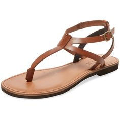 Firth Women's Flat Thong Sandal - Brown - Size 35 ($79) ❤ liked on Polyvore featuring shoes, sandals, brown, flat pumps, ankle strap flat sandals, flat leather sandals, brown leather sandals and ankle strap flats
