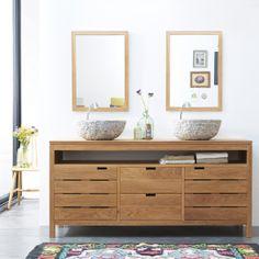 Waschtisch aus Eiche 165 Serena Oak Bathroom Basin Cabinet, Wood Bathroom, Vanity Cabinet, Bathroom Furniture, Oak Vanity Unit, Double Vanity Unit, Wood Vanity, Selling Furniture, Bathroom Collections