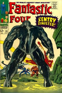 Fantastic Four (Jul Marvel) Jack Kirby art feat: the Kree Sentry Old Comic Books, Vintage Comic Books, Marvel Comic Books, Comic Book Artists, Comic Book Covers, Vintage Comics, Marvel Dc Comics, Marvel Vs, Stan Lee