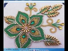 Hand Embroidery Beaded Flower Design (beads work embroidery) Hand Embroidery Beaded Flower Design (b Bead Embroidery Tutorial, Hand Embroidery Videos, Bead Embroidery Patterns, Flower Embroidery Designs, Bead Embroidery Jewelry, Hand Embroidery Stitches, Beaded Embroidery, Flower Designs, Beaded Jewelry