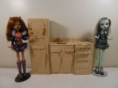 Monster High Furniture - Miniature 1:6 Scale (Playscale) Home Ick Kitchen Set - UNFINISHED, UNASSEMBLED