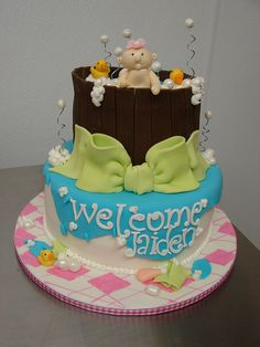 Welcome Jaiden Baby Girl Shower Cake by Little Sugar Bake Shop, via Flickr