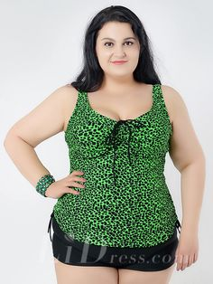 Green Print Two-Pieces Plus Size Womens Swimsuit With Skirt Lidyy1605241021