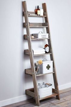 Rustic ladder bookshelf amazing ladder bookcase add this bathroom ladder shelf more wooden ladder bookshelf with storage drawers Ladder Shelving Unit, Wooden Ladder Shelf, Diy Wooden Wall, Ladder Bookshelf, Rustic Ladder, Shelf Units, Leaning Ladder Shelf, Corner Shelving, Storage Units