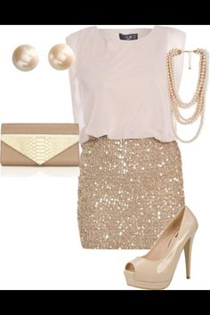 Sparkle skirt and chiffon top for chads office party ..