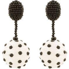 Oscar de la Renta Polka Dot Beaded Clip Earrings