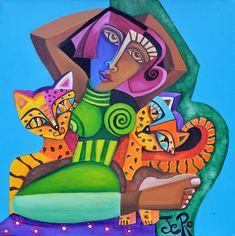 Die Froschkönigin und Ihre Katzen Acryl auf Leinwand von Jeanett Rotter